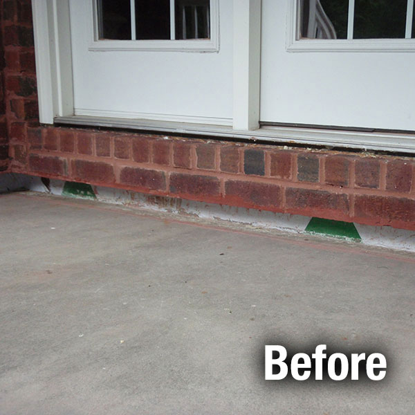 Muncie Concrete Porch Leveling - Before